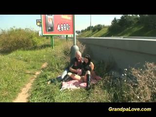 Old man fucking a nice brunette babe in public
