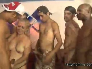 mature granny blonde Lara Saint get gangbang