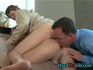 Horny gay 3some rimming