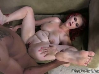 Chubby redhead pounded by black dude
