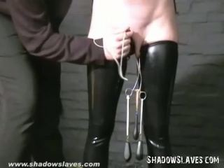 Slavegirl Cherry Torn hooded and pussy tortured