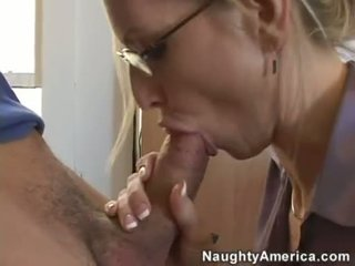 Breasty Teacher Emma Starr Plugs A Giant Cock In Her Mouth
