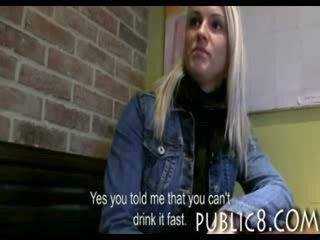 Pretty amateur blonde Czech girl stuffed by stranger for cash