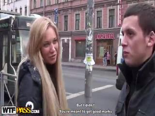 brunette scene, public sex, blowjob action