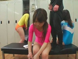 Schoolgirls get facial cumshots in unusual style