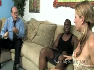 Beautiful blonde little daughter swallows a big fat black dick in front of her fathers eyes
