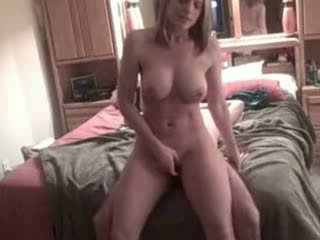 Hot blonde talks dirty with cream pie