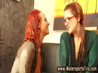 Naughty watersports sluts get soaked