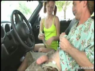 Alyssa Hart Give Big Dick Handjob Inside Car
