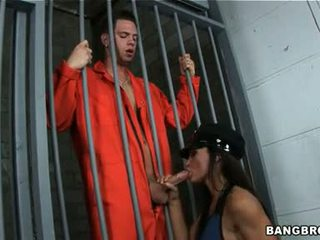 Hawt Police Woman Lisa Ann Blowing A Tempting Cock Hard Behind Bars