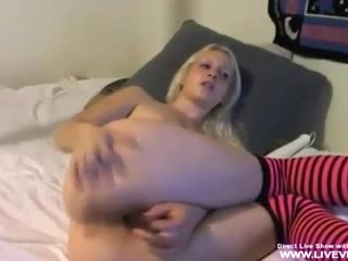 Hot blonde Jayla plays with her anal toy