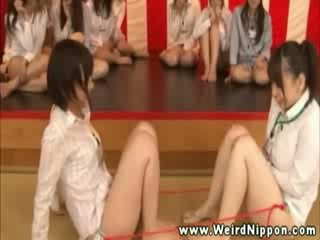 oriental game show encourages the ladies to cum with Dildos