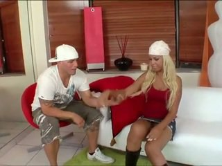 Blonde latina bitch nailed hard on the couch