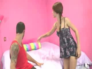 Naughty slut has a new toy she wants to try out on him