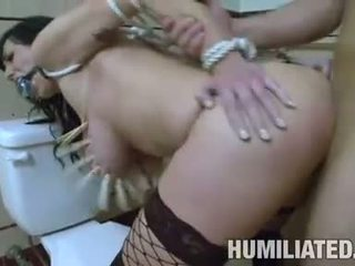 Pornstar Alia Janine bends herself on the toilet and gets real boned from behind