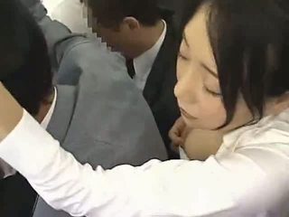 Asian Woman jizzed on in a Train