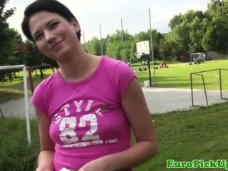 Hot brunette amateur flashing outdoors