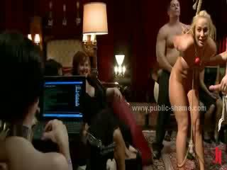 Evening meeting with sex slave bound and spanked and fucked in rough group sex