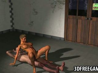 Sexy 3D cartoon zombie babe riding a studs hard cock
