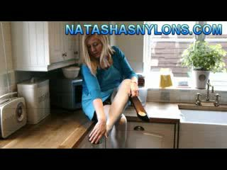 Dirty Blondeee Wife In Blue Stockings Masturbates Her Shaved Pussy