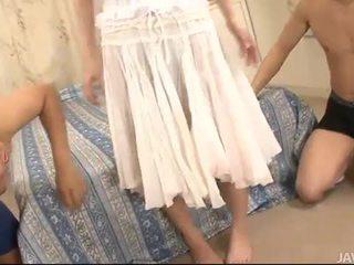 kwaliteit jong, kijken japanse video-, echt 3some