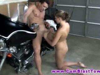 Sexy handjob big tit amateur tugging on cock