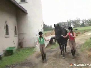 Λεσβία κορίτσια κοντά με playthings