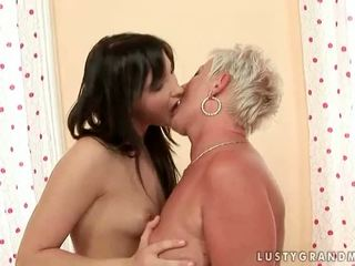 Old and Young Lesbians whip their dildos out