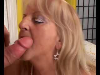 Mature blonde granny sucks and fucks cock