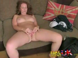FakeAgentUK Attractive redhead gets surprise creampie in fake casting