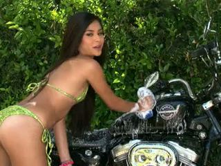 Naughty Babe Michelle Maylene Acquires Horny Hot Outdoor Washing Her Motorcycle