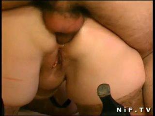 French BBW sodomized in 3way with Papy Voyeur
