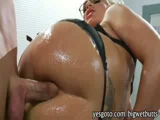 Slutty big boobs cougar Sadie Swede wearing glasses banged in the ass