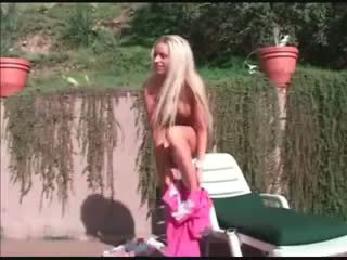 Hot blonde tanning gets fucked
