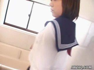 Juvenile Japanese Schoolgirl Gives Her 1st Blowjob