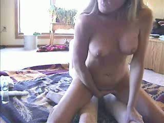 Amateur Anal riding with help of dildo for pussy