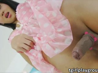 Alluring Asian shemale Aor feels erotic and gives pleasure to herself