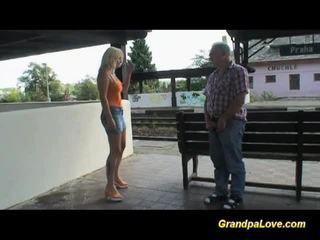 Busty blonde fucked near the railway