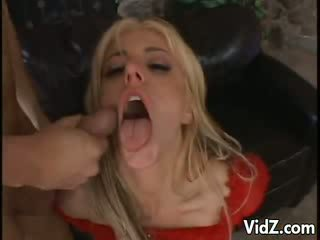 Sexy blondie Vixen Drinks jizz from Wine Glass