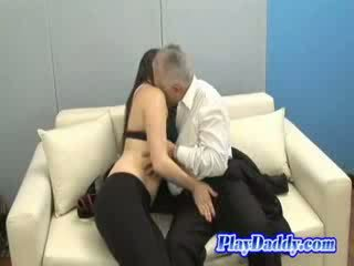 Grateful brunette pleases an old fart for his hospitality