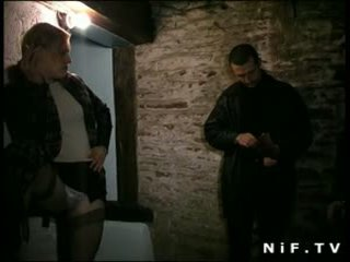French slut in stockings anal fucked in threesome with Papy