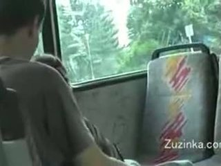Zuzinka touches herself on a bus