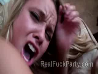 Tight blond hottie stands bravely a painful anal initiation