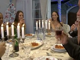 Hardcore Christmas dinner orgy