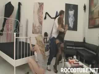 Rocco and Megan ream Isabella's ass with a string of huge anal beads
