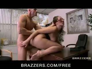 Paige Turner - Hot brunette secretary sucks & fucks boss' big hard dick at work