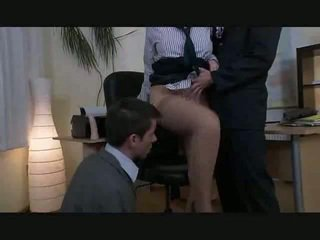 The boss lady has a bisexual threesome