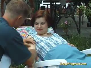 outdoors, pregnant, big breast