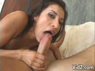 Beautiful brunette sucks and fucks 2 dicks