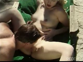 Beautiful blond lady banged outdoor